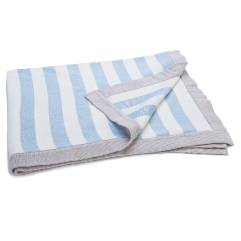 Mimmo Blue Striped Blanket | Knitted Blanket from Ragtales Ltd