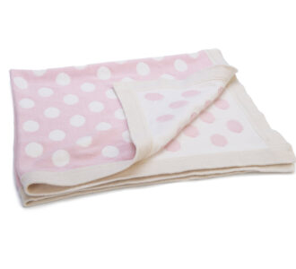 Mimmo Spotty Pink Blanket | Knitted Blanket from Ragtales Ltd